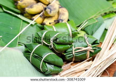 soft focus and selective focus Boiled sweets wrapped in banana leaf Thai