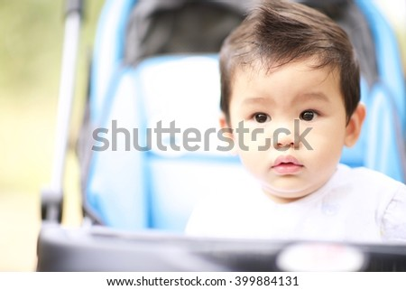 Soft focus and selective focus of a Sweet little boy in the prams (outdoors - Close-up)
