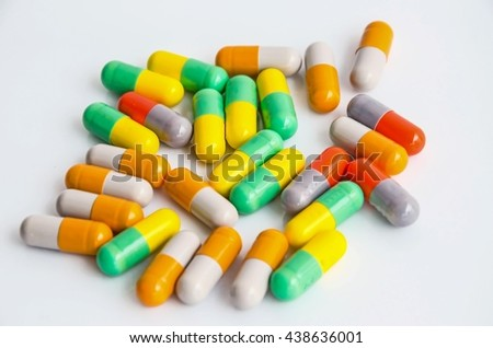soft focus antibiotics medicine/colorful capsule medicines/pills/drug - stock photo