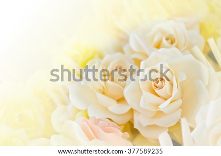 Soft focus artificial white rose wood flowers  - stock photo