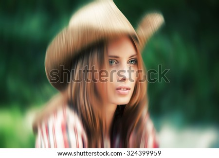 Soft focus blurred image of young woman portrait in a hat. Sexy cowgirl.  - stock photo