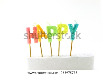 Soft focus candles of birthday isolated white background - stock photo