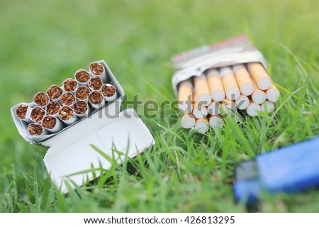 Soft focus Cigarettes  in green grass background, No smoking.  World No tobacco day. - stock photo