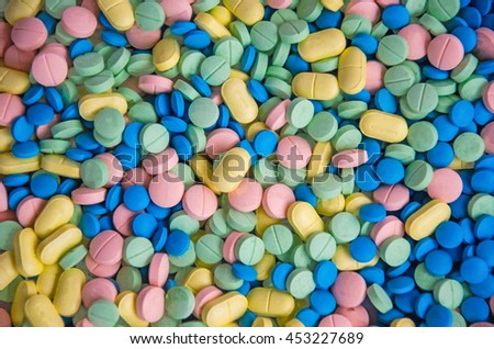 soft focus colorful pills medicine - stock photo