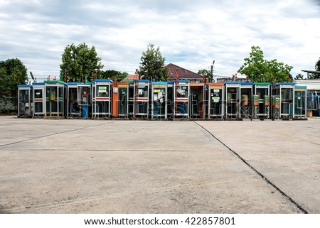 Soft Focus Colorful Vintage old phone booths - stock photo