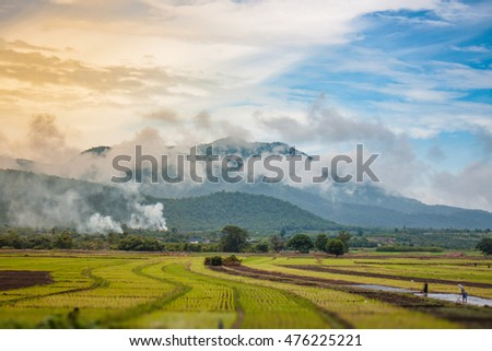 Soft focus Landscape of mountain and farm with cloud and sky ,Ban Hong district ,Lamphun province ,Thailand