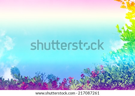 soft focus nature background with green tree and flowers pastel tones - stock photo
