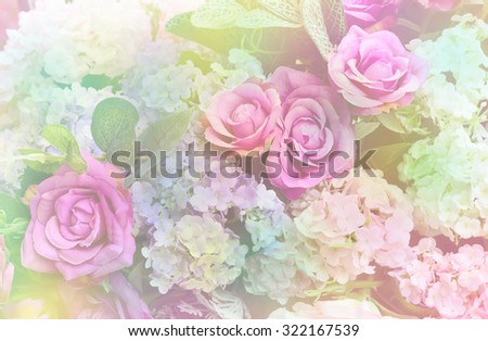 Soft focus of beautiful artificial flowers decoration - stock photo