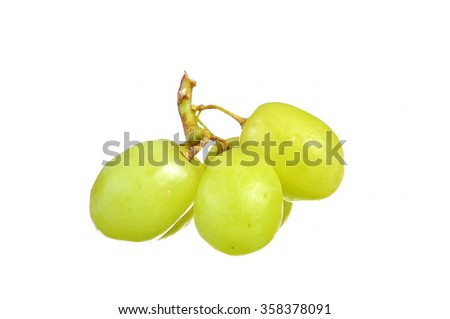 soft focus of bunch green grapes isolated on white.