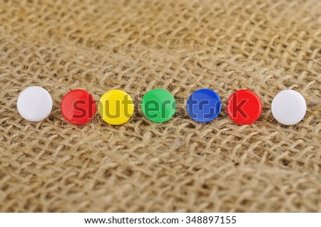 Soft Focus of Colorful Pushpins  - stock photo