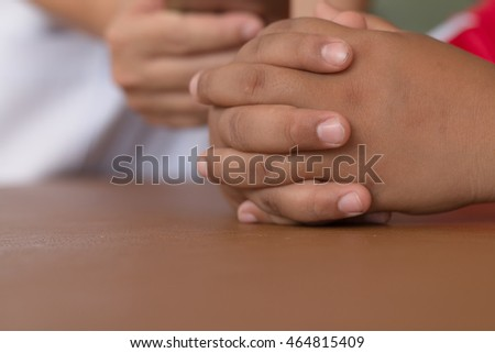 Soft focus of hands put on brown Leather desk, Serious action.