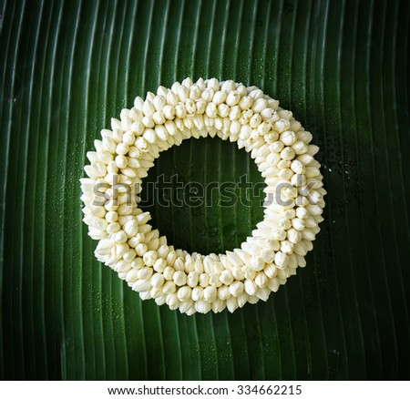 soft focus of Maalai The flower in Thai Traditional Style - stock photo