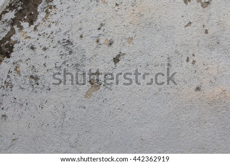 Soft focus Old cement wall,White walls are textured black dirt stains. - stock photo