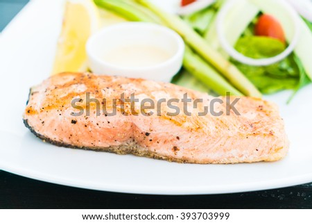 Soft focus on Salmon meat fillet steak - Healthy food style - stock photo