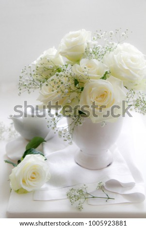 Soft Focus White Roses with Tea