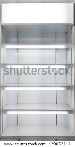 Soft focus , white shelves . - stock photo
