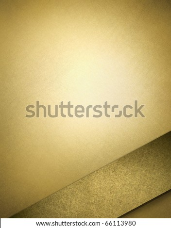 soft gold background with darker gold ribbon design layout in corner of border with copy space in frame for Christmas or anniversary invitations or announcements - stock photo