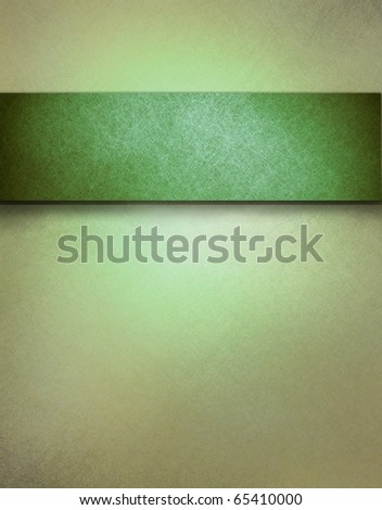 soft green background or cover with faint brown grunge tone and texture with darker stripe of green for title or to add text, perfect for Christmas background or St. Patrick's Day - stock photo