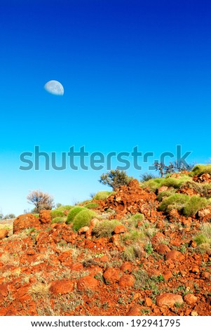 Soft green bushes on an orange hillside in Australian outback with a moon in blue sky - stock photo
