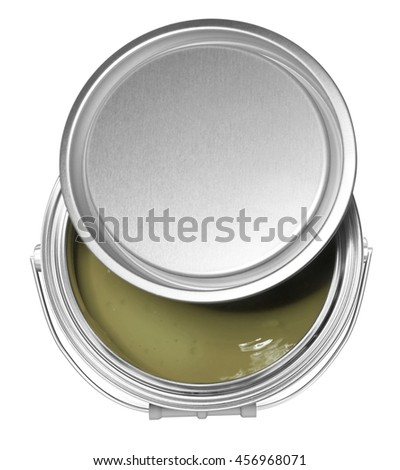 Soft green paint can and cover, isolated on white background