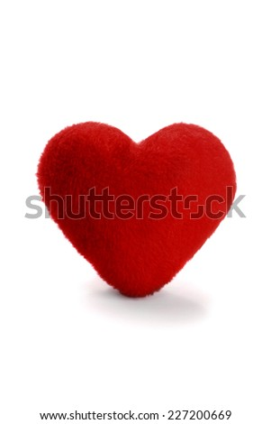 Soft heart on white background for holidays such as mother's day, father's day and valentines day. - stock photo