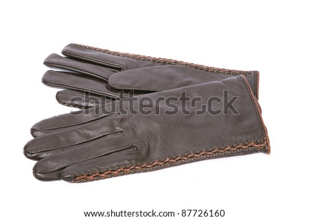 soft leather brown gloves isolated on white