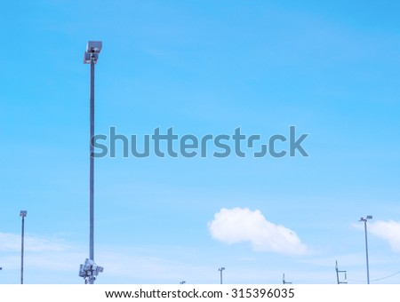Soft light blue sky with Street Lamps