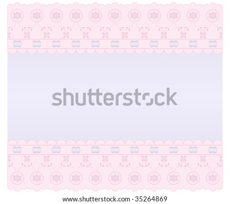 Soft lilac background with pink edges embroidered