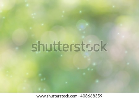 Soft nature green colour bokeh for abstract romantic dreamy background
