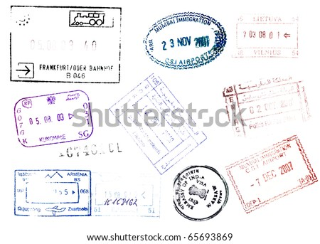 Soft passport stamps background - stock photo