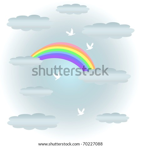 soft pastel rainbow and clouds with flying doves illustration