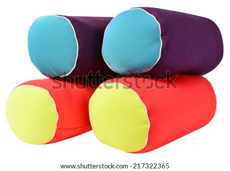 Soft pillows with clipping path against white. - stock photo