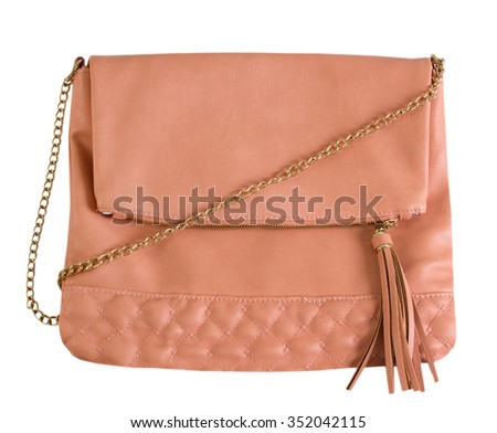 Soft pink color woman clutch bag isolated on white.Fashion lady purse. - stock photo