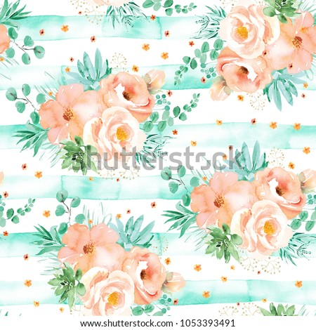 Soft pink flowers mint green leaves stock illustration 1053393491 soft pink flowers with mint green leaves bouquets on white background with green stripes seamless mightylinksfo