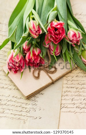 soft pink tulips, old love letters and cards. sentimental vintage background with flowers and papers - stock photo