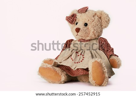 Soft plush toy animals isolated on white background. Vintage toy bear in a dress - stock photo