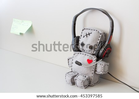 Soft Robot Toy Helpdesk - stock photo