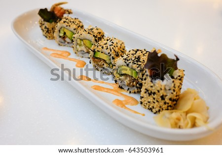 Soft shell crap roll.,Japanese food.,Selective focus.