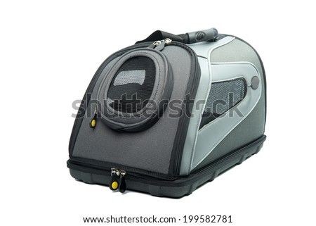 Soft Sided grey and black Cat Carrier isolated on white with shadow