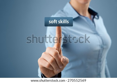 Soft skills - woman click on button to purchase soft skills training. - stock photo