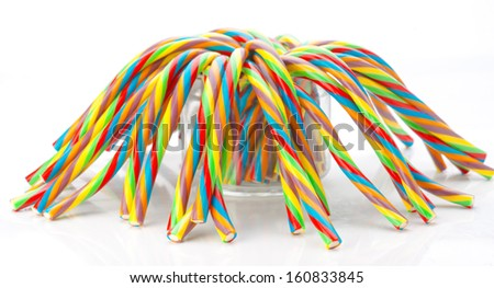 soft sticks tangle colored licorice - stock photo