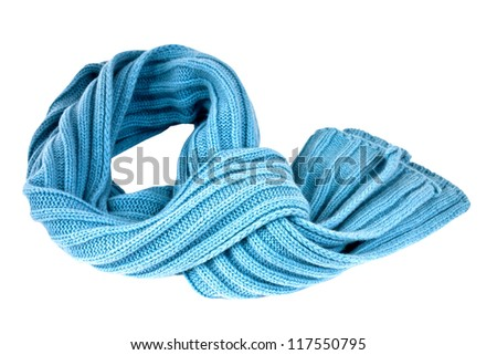 Soft, stylish and colorful winter scarf  isolated with clipping path - stock photo