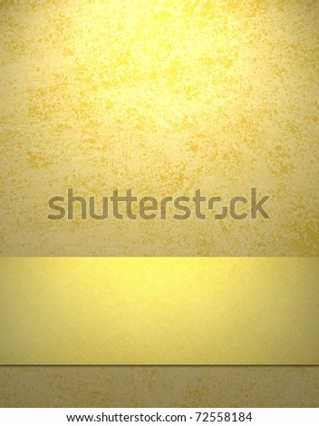 soft sunny yellow background with gold ribbon stripe, copy space, grunge texture, and highlight - stock photo