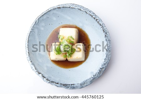 Soft tofu fried with soy broth sauce, Japanese food - stock photo