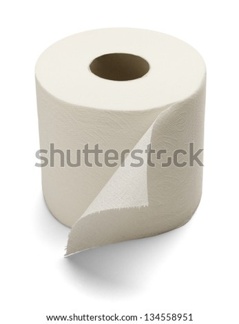 Soft Toilet Paper Isolated on a white background. - stock photo