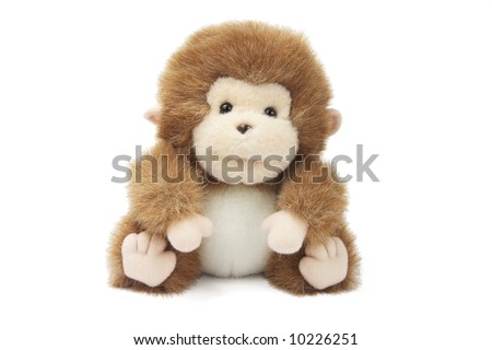 Soft Toy Baby Monkey on White Background - stock photo