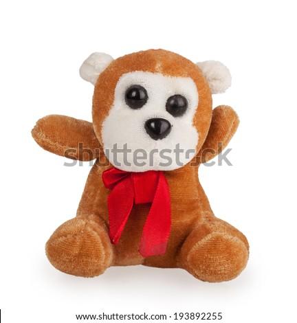 soft toy monkey isolated on white background - stock photo