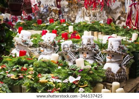 Soft toys at Christmas market of Viktualienmarkt, Munich (Germany) - stock photo
