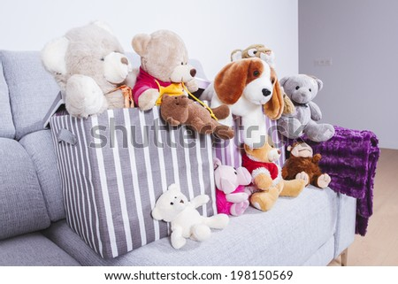 Soft toys in a child's bedroom - stock photo