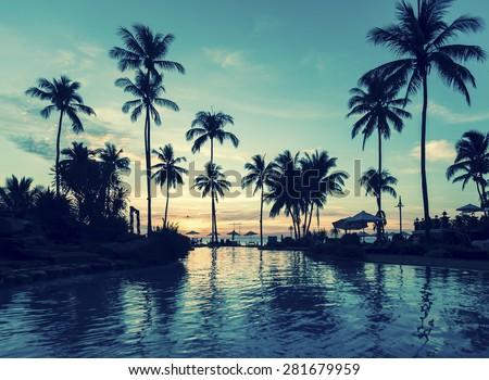 Soft twilight of the amazing tropical marine beach. - stock photo